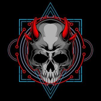 Głowa czaszki demona o świętej geometrii