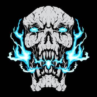 Głowa czaszki niebieski ogień na czarnym tle
