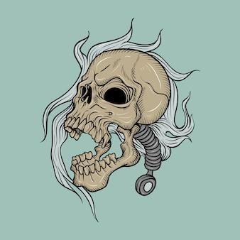 Głowa czaszki, rysunek odręczny, na białym tle łatwe do edycji