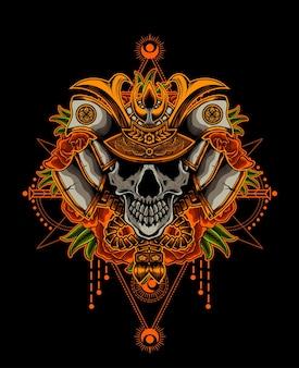 Głowa czaszki samuraja z różą