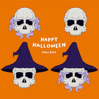 Głowa czaszki wizzard na halloweenowe logo maskotki