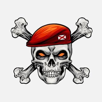 Głowa czaszki z czerwoną czapką i krzyżową kością