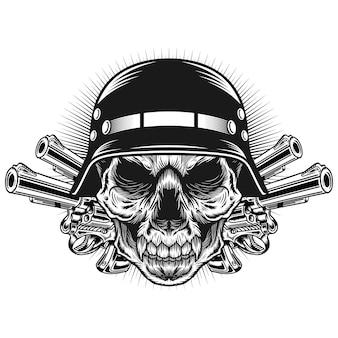 Głowa czaszki z hełmem i pistoletem ilustracja koncepcja szczegółowego projektu wektorowego