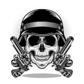 Głowa czaszki z hełmem i pistoletem szczegółowa koncepcja projektowania wektorów