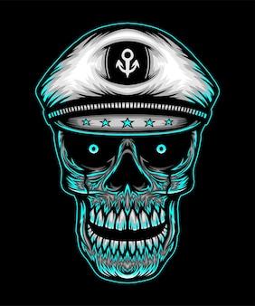 Głowa czaszki z kapeluszem kapitana. wektor premium