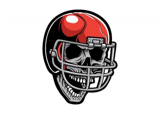 Głowa czaszki z kaskiem piłkarskim