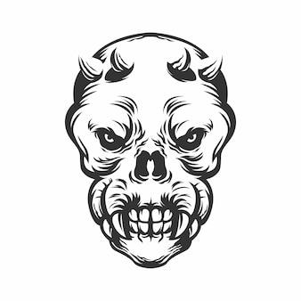 Głowa czaszki z rogami