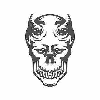 Głowa czaszki z rogiem. czarno-biały rysunek. ilustracja. na tatuaż lub koszulkę