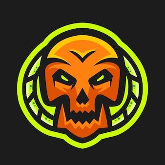 Głowa czaszki z zielonym wektorem logo maskotki trucizny