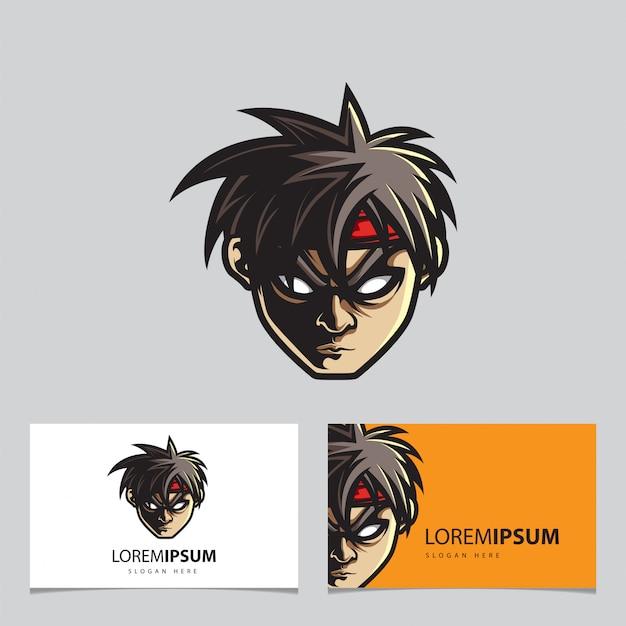 Głowa człowieka esport logo nazwa szablonu karty