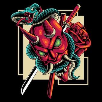 Głowa diabła z maskotką węża