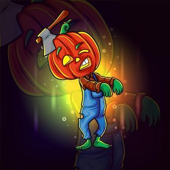 Głowa dyni zombie z logo e-sportu z siekierą na ilustracji