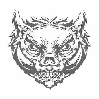 Głowa dzika w czarno-białej kolorystyce. ilustracja