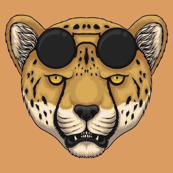 Głowa geparda z okularami przeciwsłonecznymi ilustracja kreskówka na pomarańczowym tle
