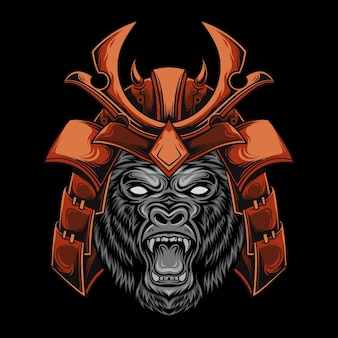 Głowa goryla nosi japoński hełm samuraja