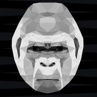 Głowa goryla. tło tematu życia przyrody i zwierząt. abstrakcyjny wzór geometryczny wielokątny trójkąt goryl małpa na projekt t-shirt, karta, zaproszenie, plakat, baner, afisz, okładka billboardu