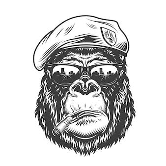 Głowa goryla w stylu monochromatycznym