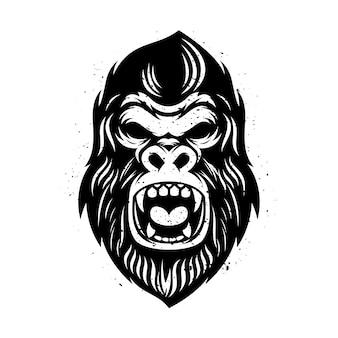 Głowa goryla z grunge designem