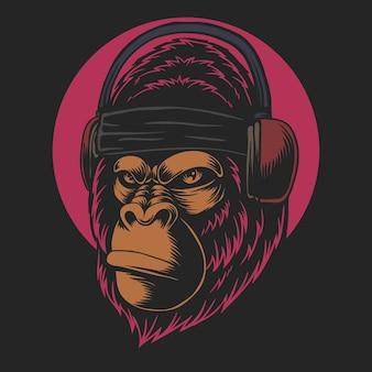 Głowa goryla ze słuchawkami na ilustracji kreskówki na czarnym tle