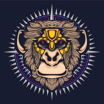 Głowa grafika ilustracja małpa
