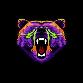 Głowa grizzly zły wektor ilustracja kolorowy design