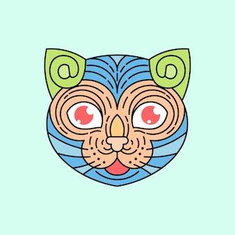 Głowa ilustracja kolorowy kot