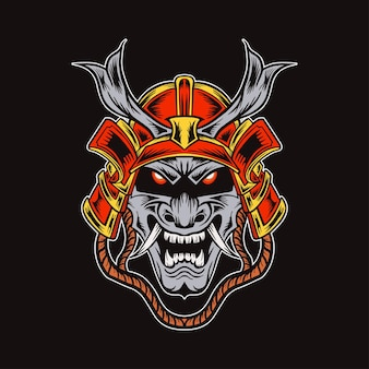 Głowa japońskiej ilustracji demonów samurajów