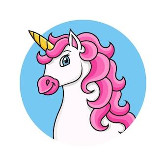 Głowa jednorożca konia postać z kreskówki