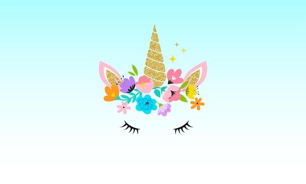 Głowa jednorożca z ilustracją kwiatów