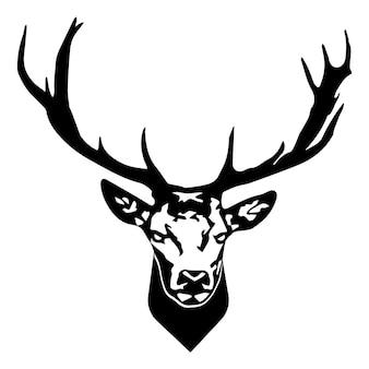 Głowa jelenia głowa renifera na białym tle ilustracji wektorowych dzikie zwierzę