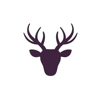 Głowa jelenia, ikona jelenia na białym