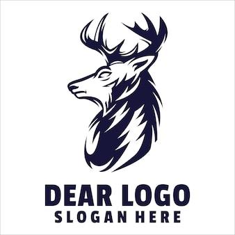 Głowa jelenia kreskówka logo wektor