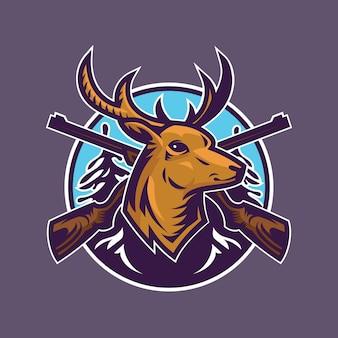 Głowa jelenia z karabinami. grafika koncepcyjna polowania w stylu kreskówki.