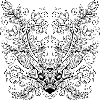 Głowa jelenia z rogami i kwiatami doodle ilustracja do kolorowania