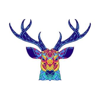 Głowa jelenia zentagle kolorowe grafiki