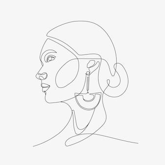 Głowa kobiety w stylu sztuki oneline