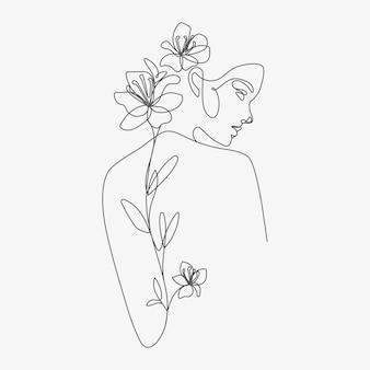 Głowa kobiety z kompozycją kwiatów ilustracja handdrawn lineart jeden rysunek w stylu linii