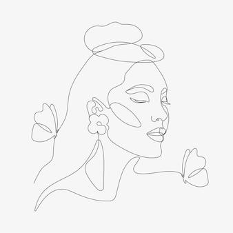 Głowa kobiety z kompozycją motyli