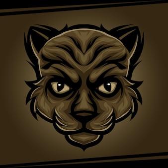 Głowa kota maskotka zwierząt dla sportu i e-sportu logo ilustracji wektorowych