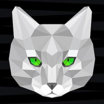 Głowa kota. tło tematu życia przyrody i zwierząt. abstrakcyjny wzór geometryczny wielokątny trójkąt kot na projekt t-shirt, karty, zaproszenia, plakat, baner, afisz, okładka billboardu