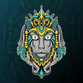 Głowa kota z ilustracją sowa ornamnet