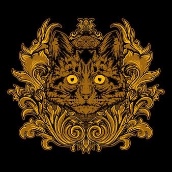 Głowa kota ze złotym grawerowanym ornamentem