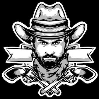 Głowa kowboja z kapeluszem i bronią