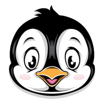 Głowa kreskówka ładny pingwina