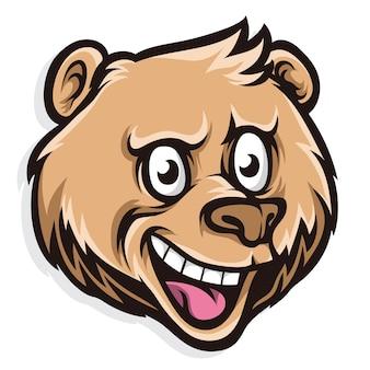 Głowa kreskówka niedźwiedź ładny