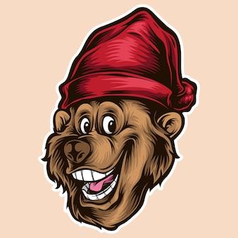 Głowa kreskówka niedźwiedź
