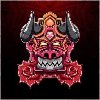 Głowa króla diabła z logo maskotki róży
