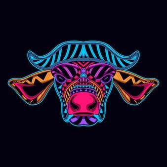 Głowa krowy świeci w ciemności