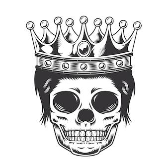 Głowa księcia syna czaszki z koroną na białym tle. halloween. logo głowy czaszki lub ikony. ilustracji wektorowych.