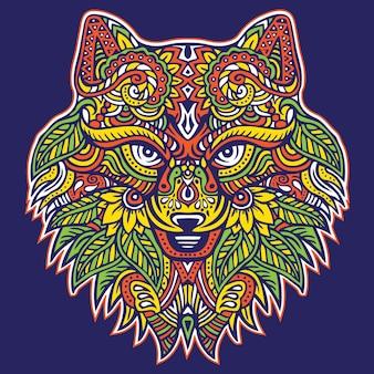 Głowa lisa wildlife animal z ozdobnym paisley